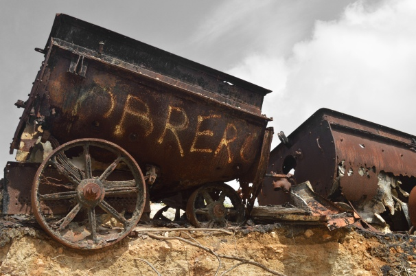 old mine carts, Bonaire