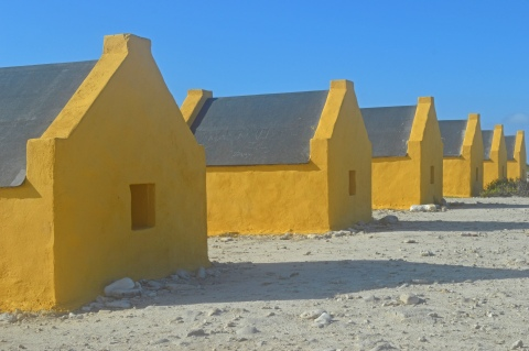 yellow slave huts, Bonaire